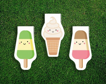 Magnetic Bookmark Set | Ice cream Popsicle, Soft Serve, Icy Pole, Summer, Sweets, Magnet