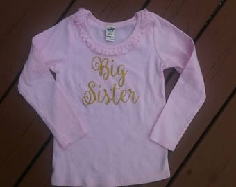 Light pink big sister long sleeve shirt