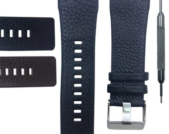 29mm Genuine Leather Strap(Double Pins) + Gift Tool Fits Diesel DZ1114