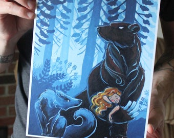 Bear and Wolf with a Girl; Fine Art Print