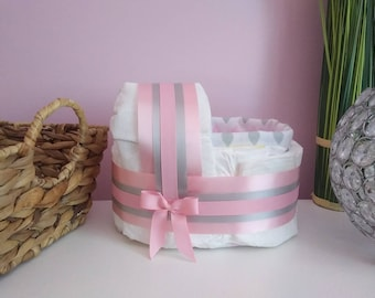 Pink little Cradle diaper cake, diaper cake for a baby girl, baby gift for birth or baby shower girl, La Marmaille d'Izazou
