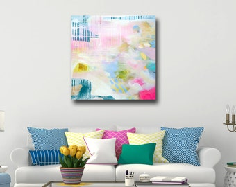Abstract Wall Art, Large Canvas Print from Painting, Abstract Art Canvas, Expressive Canvas Art, White Blue Pink Green Yellow Abstract Print