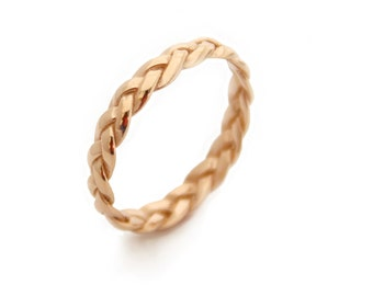 Women Wedding Band Gold Braided Gold Wedding Band Braided Gold Band Braided Ring Wedding Bands Women Yellow Gold braid ring 14k gold ring