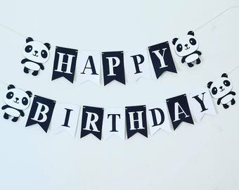 Panda bear black and white happy birthday banner, panda birthday party banner, black and white birthday banner, panda birthday banner, panda