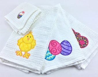 Dish Towels/Rag - Easter, (Set of 3 + Dishrag)