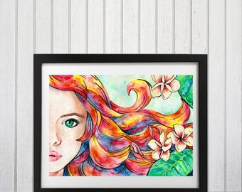 Woman art print, Red head art, Fantasy wall art, Watercolor girl, Summer theme art, Tropical, Fairy tale