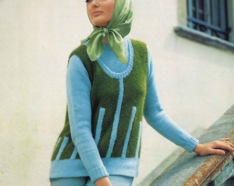 Treeline Vest • 1960s Sweater Vest Pattern • Vintage Waistcoat Knitting Patterns • Retro Knit PDF