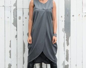 SALE Trendy Grey Loose Casual Tunic/ Asymmetric Long Tunic/ Grey Maxi Tunic/ Tunic Top/ Oversize Summer Top by METAMORPHOZA