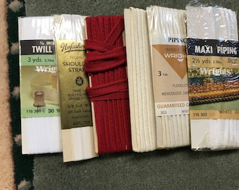 Vintage Piping Twill Tape Shoulder Straps Fabric Notions (Lot of 6)