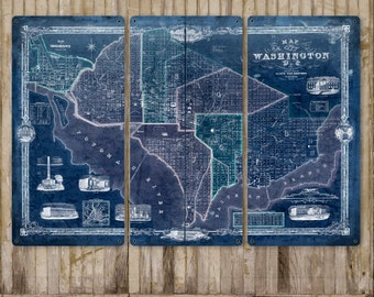 "Vintage Map of Washington METAL triptych 54x36"" FREE SHIPPING"