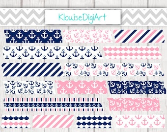 Pink and Navy Anchors and Stripes Nautical Digital Washi Tape Clipart for Personal and Small Commercial Use (0001)