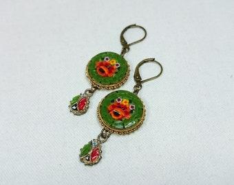 Green Micro Mosaic Flower Drop Earrings, Grand Tour, Souvenir Jewelry, Italy