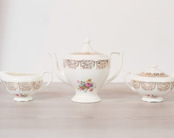 Vintage Teapot, Creamer, Sugar - Set of 3 Keystone Canonsburg Floral Warranted 22k Gold - Ornate Pink Flowers -Made in England Dinnerware