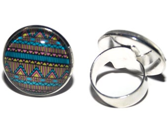 AZTEC/cabochon 25 mm glass Adjustable ring