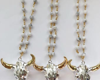 Silver & Gold Steerhead Necklace