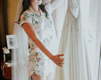 Bridal Pj Set - Notched Collar Style - Pink Peonies Pattern - Bridal Pajamas - Bridal Getting Ready outfit - Bridal Pjs