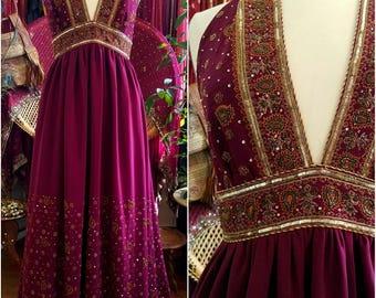 Ellaria Sand Dornish Game of Thrones beaded silk dress gown Beautiful upcycled sari boho bohemian Renaissance hippie