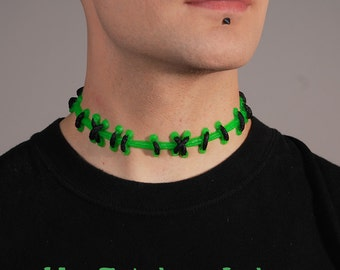 Frankenstein Stitches  - Bright Green Choker Necklace with small black stitches