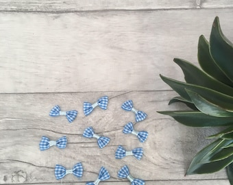 Blue check bows wedding decor scrapbooking embellishments, gingham bows, card making supplies, mini hair bows, wedding favours, tiny bow