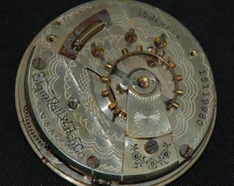 Gorgeous Vintage Antique Elgin Pocket Watch Movement  Steampunk Altered Art SM 47