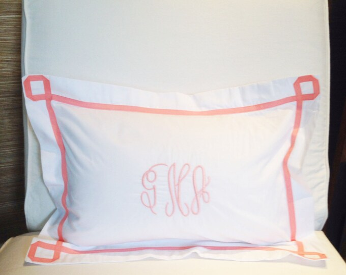 Featured listing image: Monogram Boudoir Pillow Sham with  Ribbon Trestle Trim / Monogram Bedding / Baby Pillow / Boudoir Pillow