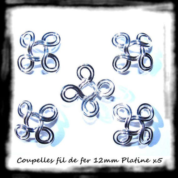 Findings bead caps caps [iron wire Double 4 loops] 12mm x 5 Platinum silver