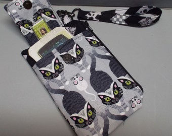 Women's Small Wristlet Wallet or Bag with Smart Phone Pocket Cat and Mouse Fabric