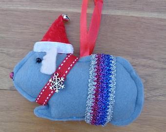 Hand made Christmas Grey felt Guinea Pig hanging decoration