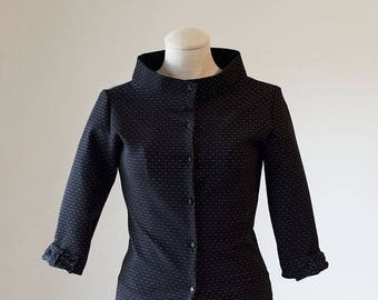 Raised Neck Cardigan/ Black Cardigan / Dressy Cardigan/ Business Casual Cardigan / Women's Cardigan/ Women's Sweater
