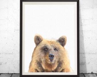 Bear art, bear wall art, bear decor, grizzly bear art, nursery art, brown bear, Woodlands Decor, Digital Wall Art, Animal Wall Art, bear