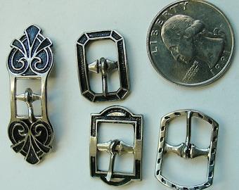 4 Vintage Silvertone Buckles