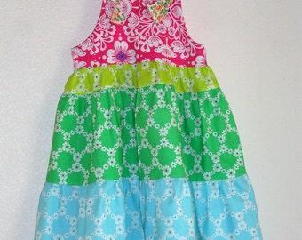 Flower Girls Dress Summer Rainbow Sherbert Dress Tiered Summer Sundress Dress Size 5