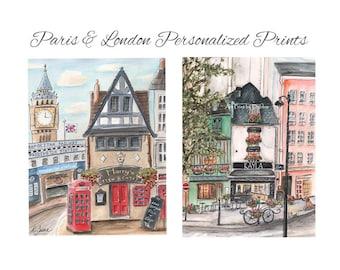 London Paris Travel Theme Nursery, Personalized Set Of 2 Watercolor Prints,  Paddington Station, Odette Patisserie, 6 Sizes 5x7 to 24x36