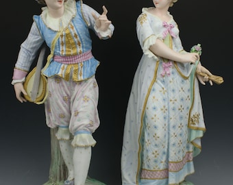 "19C Vion\Baury figurines ""Lady with Fan & Man with Lute"""