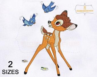 Fun and Playful Bambi Embroidery Design | 4x4 Hoop | 5x7 Hoop Embroidery Design | Bambi Machine Embroidery Design | Disney Bambi Embroidery