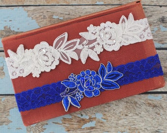 Ivory and Blue Embroidery Flower Lace Wedding Garter Set, Wedding Garter Set,Royal Blue Toss Garter,Blue Garter Set,Something Blue / GT-34A