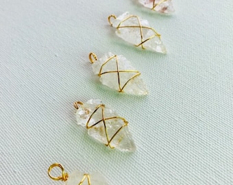 Crystal Quartz Arrowhead Pendant Wire Wrapped Gold Plated Necklace