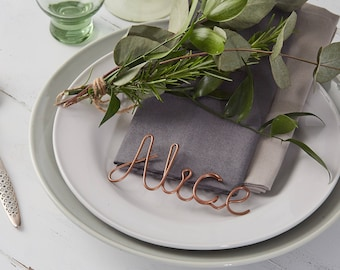 Ten Copper Place Settings, name wedding favours, copper table names, wire table names, wire names, christmas place settings, wedding favours