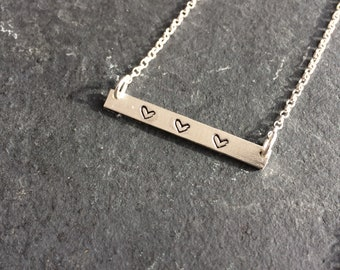 Sterling Silver Hand-Stamped Three Hearts Necklace, heart necklace, hearts, stamped jewellery, gift for her