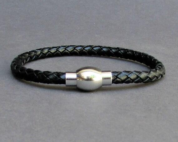 Braided, Mens Leather Bracelet Titanium Stainless Steel Mens Leather bracelet Cuff Gift For Men Customized On Your Wrist
