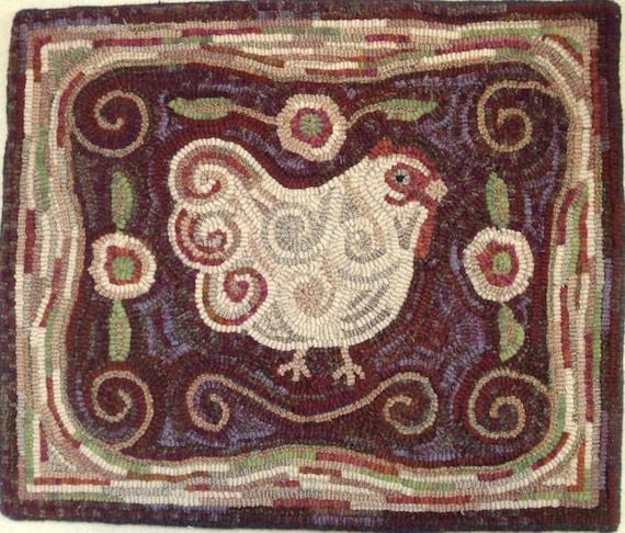 """Rug Hooking PATTERN,  Revised Spiral Chicken, 18"""" x 22"""", P101, Folk Art Chicken Design"""