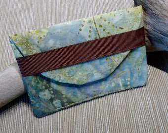 Business Card Case, Credit Card Wallet, Blue Batik Fabric Case, Business Card Wallet, Pocket Wallet, Credit Card Case, Small Purse