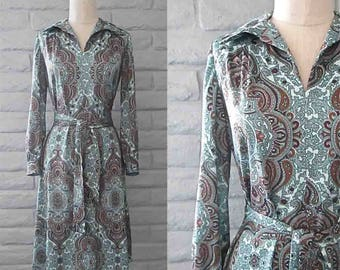 Vintage 1970's dress PRETTY PAISLEY print blue and brown long sleeve - M