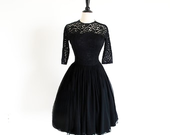 Vintage 50s Black Chiffon and Lace Dress, Grace Kelly Semi Formal, Free shipping