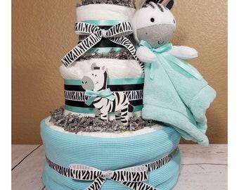 Zebra Diaper Cake| Zebra Baby Gift| Zebra Baby Shower Centerpiece| Zebra Baby Shower| Teal Baby Gifts| Diaper Cake| Baby Shower| Baby Gift
