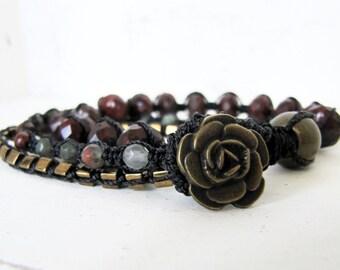 Bloodstone and Poppy Jasper Macrame Wrap Bracelet, Black, Antique Gold, Dark Red, and Green Triple Macrame Bracelet