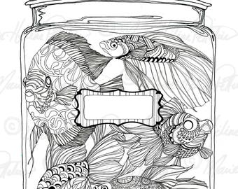 Art Therapy, Coloring page, Zentangle Goldfish, Instant download