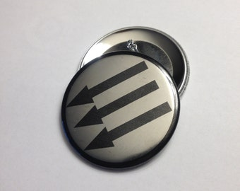 "Antifascist three arrows button, 1"" or 2.25"""