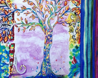Quilted Wall Art, Modern Art Quilt, Tree of Life Quilt, Dreaming Tree Quilt, Small Wall Quilt
