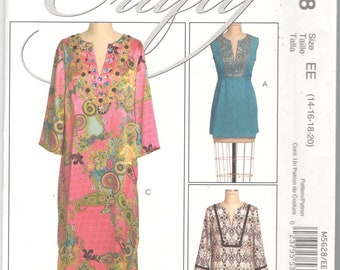 McCalls 5628 MP256 Misses Pullover A Line Tunic Top Dress Caftan Pattern Womens Sewing Pattern Size 14 16 18 20 Bust 36-42 Or 6 - 14 UNCUT